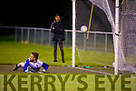 Kerins O'Rahillys keeper Shane Foley been beaten from the penalty spot against John Mitchels in the Tralee Town Board SFC semi-final.