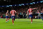 Thomas Lemar (L) and Alvaro Morata (R) of Atletico de Madrid celebrate goal during the UEFA Europa League match between Atletico de Madrid and Bayer 04 Leverkusen at Wanda Metropolitano Stadium in Madrid, Spain. October 22, 2019. (ALTERPHOTOS/A. Perez Meca)
