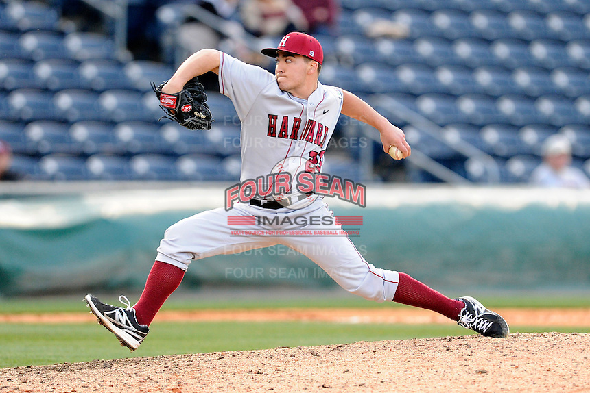 Pitcher Greg Coman (29) of the Harvard Crimson in a game against the Michigan State Spartans on Saturday, March 15, 2014, at Fluor Field at the West End in Greenville, South Carolina. Michigan State won, 4-0. (Tom Priddy/Four Seam Images)