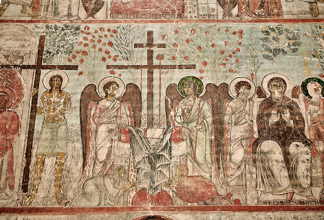 """Pictures & imagse of the interior frescoes depicting the Assumption of the Virgin in the Timotesubani medieval Orthodox monastery Church of the Holy Dormition (Assumption), dedcated to the Virgin Mary, 1184-1213, Samtskhe-Javakheti region, Georgia (country).<br /> <br /> Built during the reigh of Queen Tamar during the """"Golden Age of Georgia"""", Timotesubani Church of the Holy Dormition is one of the most important examples of medieval Georgian architecture and art. <br /> <br /> The interior frescoes of date from the 11th - 13th century so the Timotesubani church of the Dormition is a treasure trove of medieval Georgian art created during the reign of Queen Tamar. The fresco murals have been rescued and preserved by the Global Fund of Cultural Heritage."""
