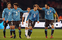 Giuseppe Rossi of Italy is congratulated by his team-mates after scoring his side's first goal. Italy defeated USA 3-1 during the FIFA Confederations Cup at Loftus Versfeld Stadium, in Tshwane/Pretoria South Africa on June 15, 2009.
