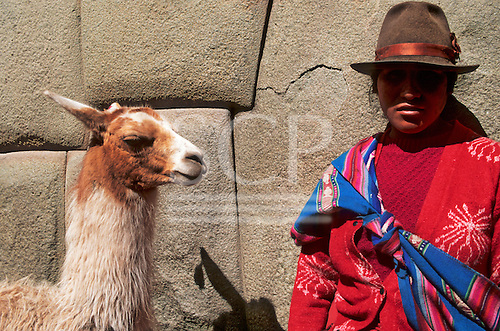 Cusco, Peru. Woman in traditional dress with llama in the Calle Hatunrumiyoc, with excellent polygonal Inca masonry.
