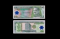Guatemalan Banknote:  1 Quetzal.  General Jose Maria Orellana, President of Guatemala 1921-26.  Bank of Guatemala on Reverse.  Placa de Leyden (Leyden Plate) on the back  left.