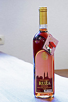 Bottle of Medugorska Ruza rose wine. Podrum Vinoteka Sivric winery, Citluk, near Mostar. Federation Bosne i Hercegovine. Bosnia Herzegovina, Europe.