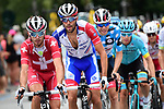 Sébastien Reichenbach (SUI) and Thibaut Pinot (FRA) Groupama-FDJ, Polka Dot Jersey David de la Cruz (ESP) UAE Team Emirates, Miguel Angel Lopez Moreno (COL) Astana and the rest of the chase group during Stage 5 of Criterium du Dauphine 2020, running 153.5km from Megeve to Megeve, France. 16th August 2020.<br /> Picture: ASO/Alex Broadway | Cyclefile<br /> All photos usage must carry mandatory copyright credit (© Cyclefile | ASO/Alex Broadway)