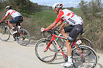 The peloton including Tomasz Marczynski (POL) Lotto-Soudal climb sector 8 Monte Santa Maria during Strade Bianche 2019 running 184km from Siena to Siena, held over the white gravel roads of Tuscany, Italy. 9th March 2019.<br /> Picture: Seamus Yore   Cyclefile<br /> <br /> <br /> All photos usage must carry mandatory copyright credit (© Cyclefile   Seamus Yore)