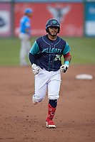 Andres Melendez (20) of the Lynchburg Hillcats rounds the bases after hitting a home run against the Myrtle Beach Pelicans at Bank of the James Stadium on May 22, 2021 in Lynchburg, Virginia. (Brian Westerholt/Four Seam Images)