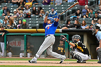 Travis Taijeron (18) of the Las Vegas 51s follows through on his swing against the Salt Lake Bees during the Pacific Coast League game at Smith's Ballpark on September 4, 2016 in Salt Lake City, Utah. The Bees defeated the 51s 4-3. (Stephen Smith/Four Seam Images)