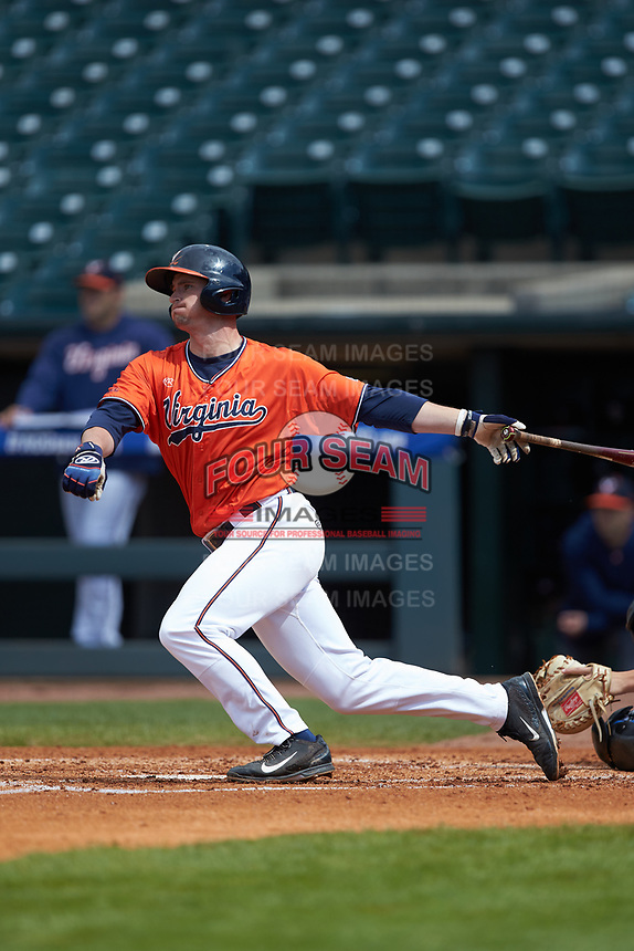 Robbie Coman (8) of the Virginia Cavaliers follows through on his swing against the Duke Blue Devils in Game Seven of the 2017 ACC Baseball Championship at Louisville Slugger Field on May 25, 2017 in Louisville, Kentucky. The Blue Devils defeated the Cavaliers 4-3. (Brian Westerholt/Four Seam Images)