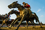 SARATOGA SPRINGS, NY - AUGUST 26: McCraken #9, ridden by Brian Hernandez crosses the wire at the Travers Stakes at Saratoga Race Course on August 26, 2017 in Saratoga Springs, New York.(Photo by Alex Evers/Eclipse Sportswire/Getty Images)