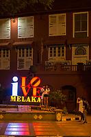 Melaka, Malaysia.  I Love Melaka, in front of Stadthuys.