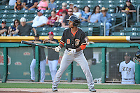 Tony Kemp (6) of the Fresno Grizzlies at bat against the Salt Lake Bees in Pacific Coast League action at Smith's Ballpark on June 13, 2015 in Salt Lake City, Utah.  (Stephen Smith/Four Seam Images)