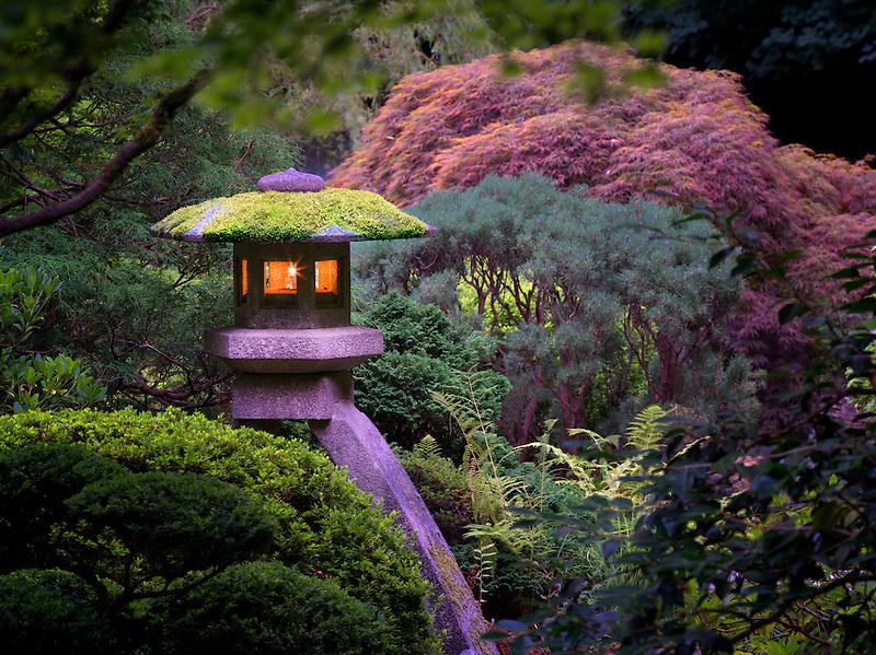 Lit lanterns in Portland Japanese Gardens. Oregon