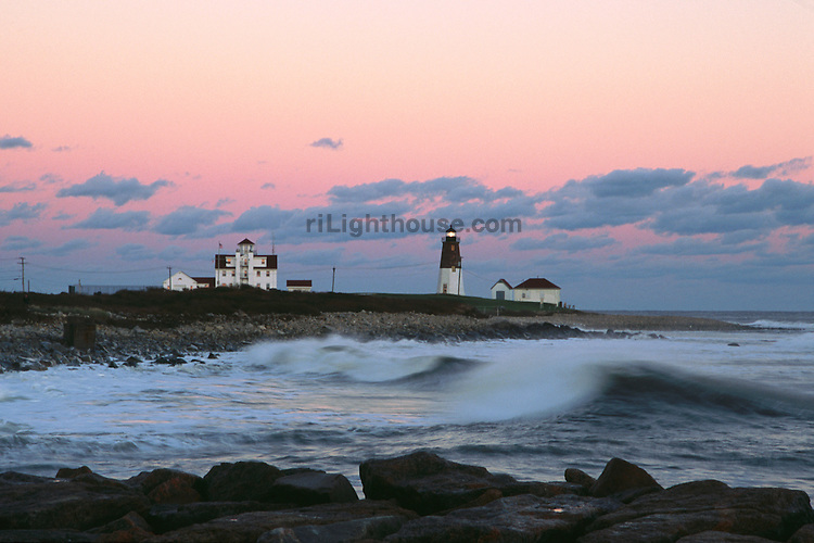 The light at Point Judith begins to glow as night approaches