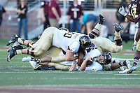Idaho quarterback Matt Linehan (10) is sacked during first half of an NCAA Football game, Saturday, October 04, 2014 in San Marcos, Tex. Texas State leads Idaho 21-3 at the halftime(Mo Khursheed/TFV Media via AP Images)