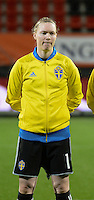 20160302 – ROTTERDAM ,  NEDERLAND : Sweden's Hedvig Lindahl pictured during the Olympic Qualification Tournament  soccer game between the women teams of Norway and Sweden, The first game for both teams in the Olympic Qualification Tournament for the Olympic games in Rio de Janeiro - Brasil, Wednesday 2 March 2016 at Stadion Woudestein in Rotterdam , Netherlands  PHOTO DIRK VUYLSTEKE