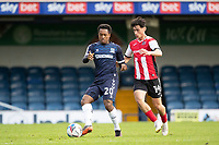 Ashley Nathaniel-George, Southend United lays the ball off under pressure Joel Randall of Exeter City during Southend United vs Exeter City, Sky Bet EFL League 2 Football at Roots Hall on 10th October 2020