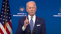 United States President-elect Joe Biden delivers remarks before the holiday from the Queen Theatre in Wilmington, Delaware on Tuesday, December 22, 2020.  After making his statement, the President-elect will take questions from the media pool.<br /> CAP/MPI/RS<br /> ©RS/MPI/Capital Pictures