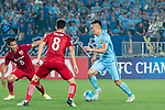 Jiangsu FC Midfielder Wu Xi (R) in action during the AFC Champions League 2017 Round of 16 match between Jiangsu FC (CHN) vs Shanghai SIPG FC (CHN) at the Nanjing Olympic Stadium on 31 May 2017 in Nanjing, China. Photo by Marcio Rodrigo Machado / Power Sport Images