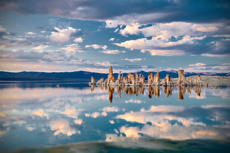 Tufa and cloud reflections in Mono Lake, California
