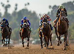 April 17, 2021: Cece with Victor Espinoza returns victorious as she wins an allowance race at Santa Anita Park, in Arcadia, California on April 17, 2021. Evers/Eclipse Sportswire/CSM