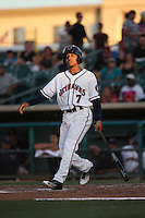 Antonio Nunez (7) of the Lancaster JetHawks bats against the Modesto Nuts at The Hanger on June 7, 2016 in Lancaster, California. Lancaster defeated Modesto, 3-2. (Larry Goren/Four Seam Images)