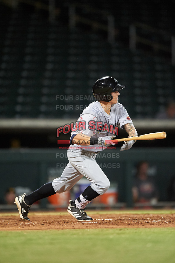 Peoria Javelinas Jarren Duran (18), of the Boston Red Sox organization, at bat during an Arizona Fall League game against the Mesa Solar Sox on September 21, 2019 at Sloan Park in Mesa, Arizona. Mesa defeated Peoria 4-1. (Zachary Lucy/Four Seam Images)