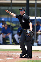 Umpire Chris Marco signals fair ball during a game between the GCL Yankees 2 and GCL Blue Jays on July 2, 2014 at the Bobby Mattick Complex in Dunedin, Florida.  GCL Yankees 2 defeated GCL Blue Jays 9-6.  (Mike Janes/Four Seam Images)