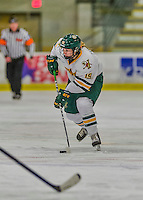 14 February 2015: University of Vermont Catamount Forward Brittany Zuback, a Senior from Thunder Bay, Ontario, in first period action against the University of New Hampshire Wildcats at Gutterson Fieldhouse in Burlington, Vermont. The Lady Catamounts rallied from a 3-1 deficit to earn a 3-3 tie in the final home game of their NCAA Hockey East season. Mandatory Credit: Ed Wolfstein Photo *** RAW (NEF) Image File Available ***