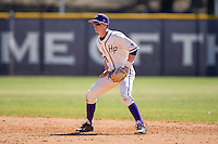 High Point Panthers second baseman Chris Clare (9) on defense against the LIU-Brooklyn Blackbirds at Willard Stadium on March 8, 2015 in High Point, North Carolina.  The Panthers defeated the Blackbirds 9-0.  (Brian Westerholt/Four Seam Images)