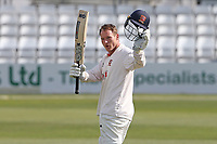 Essex skipper Tom Westley celebrates reaching his century during Essex CCC vs Worcestershire CCC, LV Insurance County Championship Group 1 Cricket at The Cloudfm County Ground on 9th April 2021