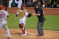 St. Louis Cardinals Yadier Molina gets a new ball from umpire Tim Welke during the MLB All-Star Game on July 14, 2015 at Great American Ball Park in Cincinnati, Ohio.  (Mike Janes/Four Seam Images)
