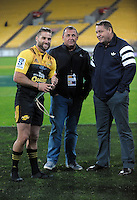 Cory Jane chats to All Blacks coaches Steve Hansen (right) and Ian Foster after the Super Rugby match between the Hurricanes and Jaguares at Westpac Stadium, Wellington, New Zealand on Saturday, 9 April 2016. Photo: Dave Lintott / lintottphoto.co.nz