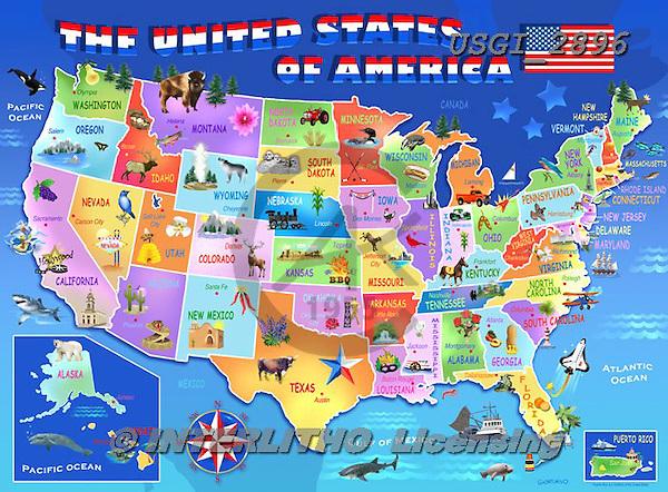 GIORDANO, CHILDREN, KINDER, NIÑOS, paintings+++++,USGI2896,#k# ,puzzle,map,usa,america
