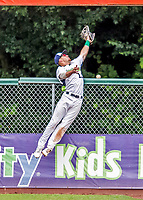 25 July 2017: Vermont Lake Monsters outfielder Greg Deichmann, a 2nd round draft pick for the Oakland Athletics, leaps in an attempt to catch a right field Abraham Toro-Hernandez homer in the 9th inning by the Tri-City ValleyCats at Centennial Field in Burlington, Vermont. The Lake Monsters defeated the ValleyCats 11-3 in NY Penn League action. Mandatory Credit: Ed Wolfstein Photo *** RAW (NEF) Image File Available ***