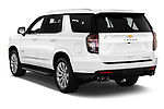 Car pictures of rear three quarter view of 2021 Chevrolet Tahoe Premier 5 Door SUV Angular Rear