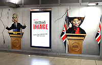 Caricature of Michael Gove and Priti Patel on large advertisement board for satirical television puppet show Spitting Image inside Westminster Tube Station. London September 30th 2020<br /> <br /> Photo by Keith Mayhew