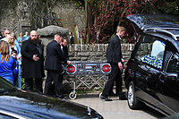 Pictured: The casket of Carson Price is carried from the Gelligaer Church, in Gelligaer, Wales, UK Tuesday 07 May 2019<br /> Re: Funeral of 13 year old Carson Price at Gelligaer Church, in Gelligaer, Wales, UK.<br /> Schoolboy Carson Price was found at a park in Ystrad Mynach, south Wales at the start of the Easter school holidays.<br /> It is believed he had taken MDMA Donkey Kong tablets.