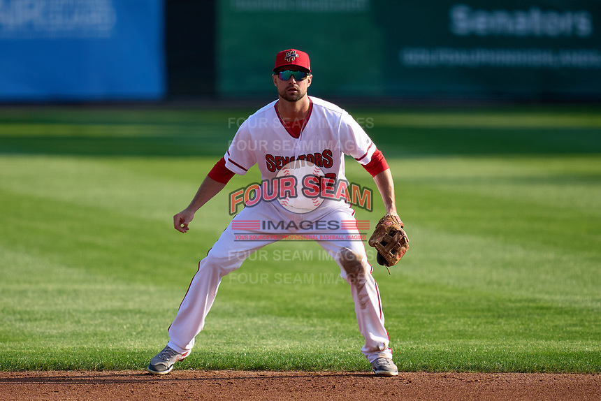 Harrisburg Senators second baseman Jordy Mercer (37) during a game against the Bowie Baysox on September 8, 2021 at FNB Field in Harrisburg, Pennsylvania.  (Mike Janes/Four Seam Images)