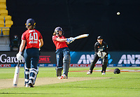 England's Nat Sciver hits a four to win the third international women's T20 cricket match between the New Zealand White Ferns and England at Sky Stadium in Wellington, New Zealand on Wednesday, 3 March 2021. Photo: Dave Lintott / lintottphoto.co.nz