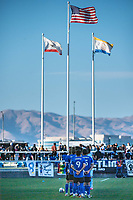SAN JOSE, CA - MAY 22: San Jose Earthquakes players line up for the National Anthem before a game between San Jose Earthquakes and Sporting Kansas City at PayPal Park on May 22, 2021 in San Jose, California.