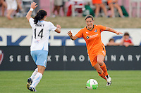 Kendall Fletcher (5) of Sky Blue FC. The Chicago Red Stars defeated Sky Blue FC 2-1 during a Women's Professional Soccer (WPS) match at Yurcak Field in Piscataway, NJ, on August 01, 2010.
