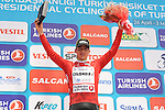 Juan Pablo Valencia (COL) Colombia retains the Red Mountains Jersey at the end of Stage 7 of the 2015 Presidential Tour of Turkey running 166km from Selcuk to Izmir. 2nd May 2015.<br /> Photo: Tour of Turkey/Mario Stiehl/www.newsfile.ie