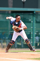 GCL Braves catcher Alejandro Flores (50) throws down to second during a game against the GCL Blue Jays on June 27, 2014 at the ESPN Wide World of Sports in Orlando, Florida.  GCL Braves defeated GCL Blue Jays 10-9.  (Mike Janes/Four Seam Images)