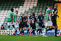 Jay Fulton of Swansea City celebrates scoring his side's fourth goal and completing his hat trick during the pre season friendly match between Yeovil Town and Swansea City at Huish Park in Yeovil, England, UK. 16 July 2019