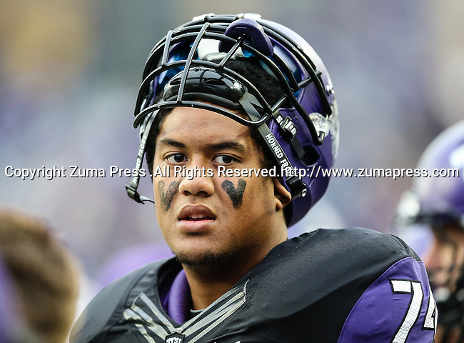 TCU Horned Frogs offensive tackle Halapoulivaati Vaitai (74) in action during the game between the Iowa State Cyclones and the TCU Horned Frogs  at the Amon G. Carter Stadium in Fort Worth, Texas. Iowa State defeats TCU 37 to 23.