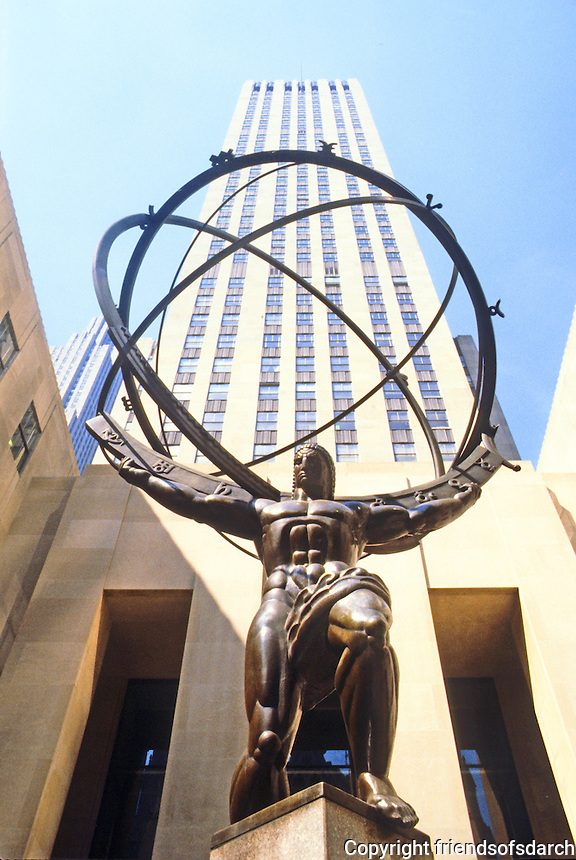 New York City: 630 Fifth Ave.--A Sculpture of Atlas by Lee Lawrie, 1937. On his shoulders, an armillary sphere, signs of Zodiac.