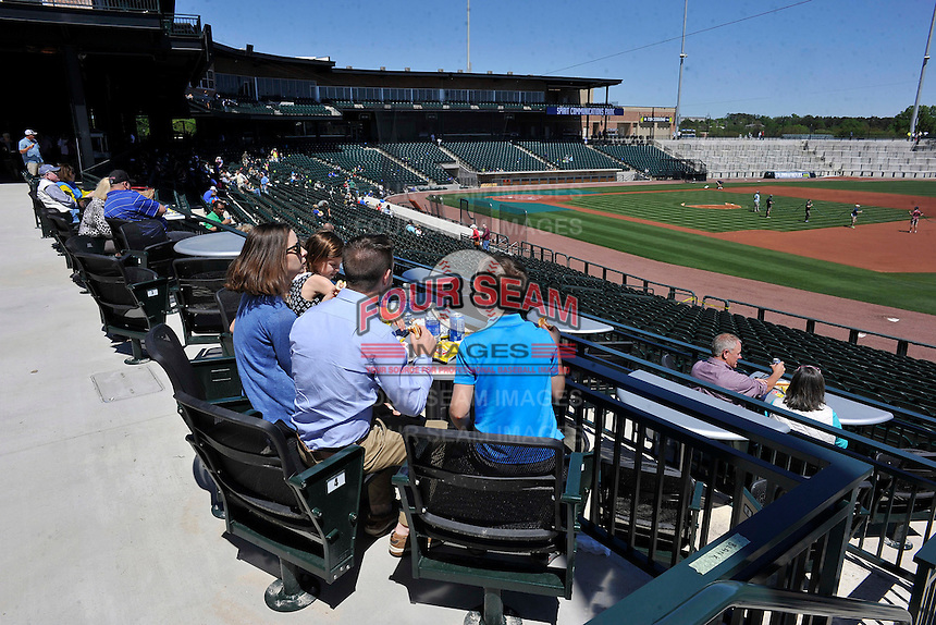 Fans enjoy an open house for the Columbia Fireflies on Sunday, April 3, 2016, their first day at the new Spirit Communications Park in Columbia, South Carolina. The Class A South Atlantic League Mets affiliate moved here this year from Savannah. (Tom Priddy/Four Seam Images)