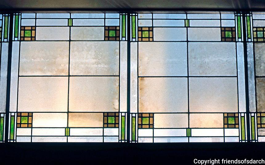 F.L. Wright: Unity Temple, Oak Park. Skylight Room, opposite foyer.  Photo '76.