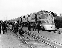 Photo of El Capitan at Albuquerque. The train was fairly new at this time. It was being billed as a budget way to travel. March 1938